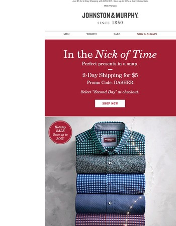 In the Nick of Time! 2-Day Shipping for $5.