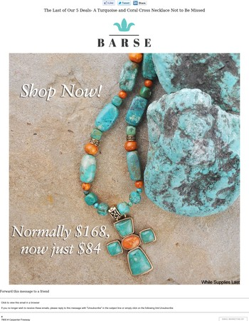 The Last of Our 5 Deals- A Turquoise and Coral Cross Necklace Not to Be Missed