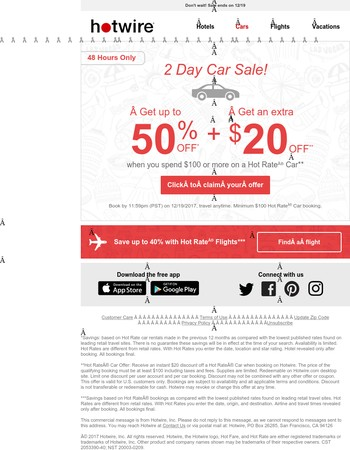 48-Hour Car Sale! Save an extra $20 on a car rental