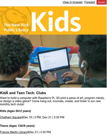 NYPL Kids: Tech Clubs for Kids and Teens, Braille Board Books, Winter Holiday Extravaganza