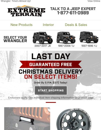 Guaranteed FREE Christmas Delivery  ENDS TODAY!