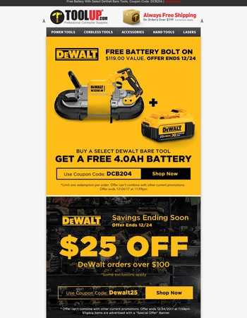 Free Battery With Select DeWalt Bare Tools + Last Chance For $25 Off
