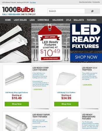 LED Ready Fixtures, starting at $10.49