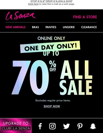 70% Off Clearance ONE DAY ONLY