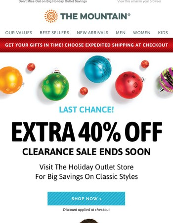 Last Chance for 40% Off Clearance