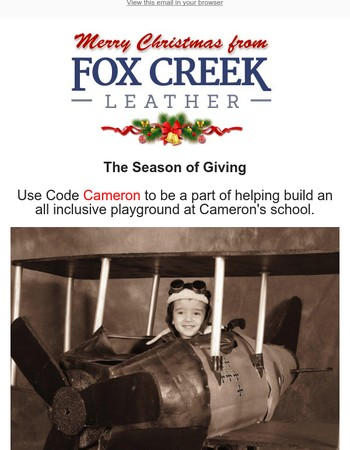 It's Never too Late to Give. Let's help Cameron Get a Playground!