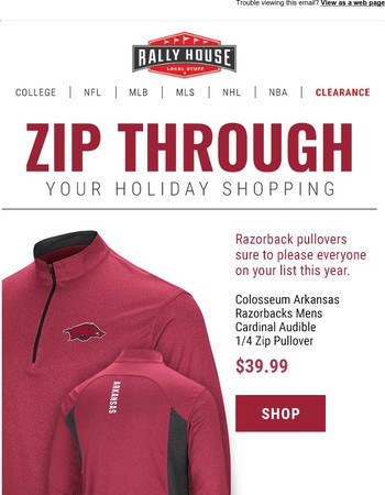 Zip Through Your Holiday Shopping With Razorbacks Quarter Zips