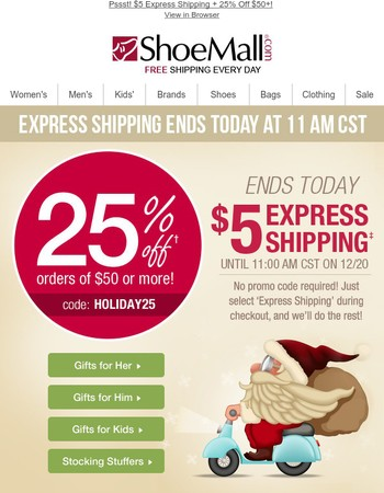 Latest Shoe Mall Newsletter