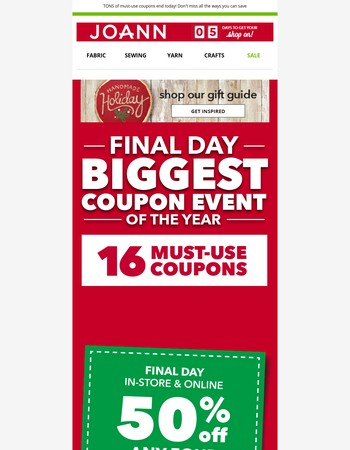 ENDS TODAY! Biggest Coupon Event of the Year (wow! that's 16 coupons)