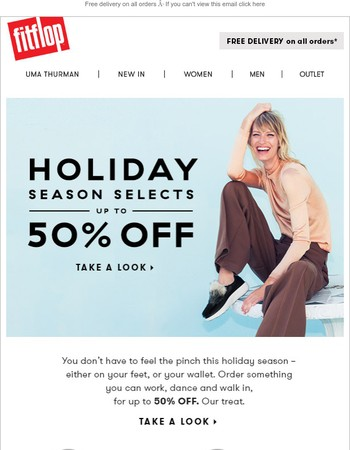 Up to 50% off holiday season selects