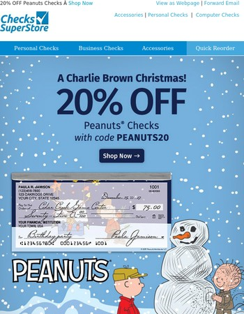 It's a Charlie Brown Christmas! Celebrate with 20% off Peanuts Checks