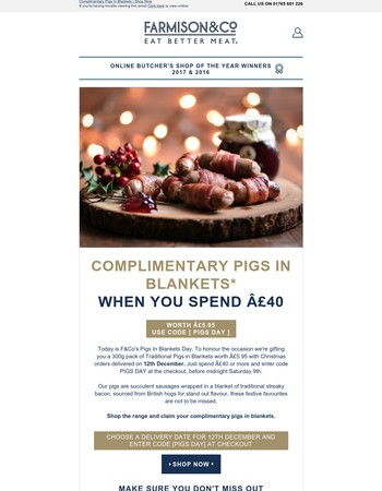 FREE Pigs In Blankets With Your Christmas Order*