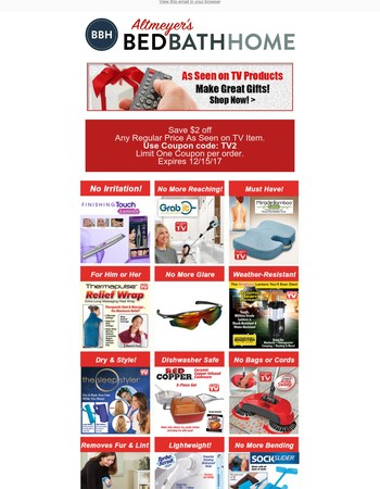 Top 15 As Seen on TV Gifts! Save Extra with Altmeyers!