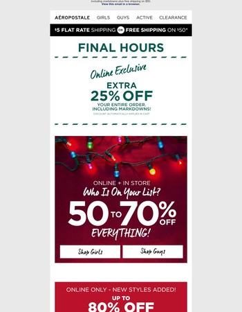 Attention: Final Hours For Extra 25% Off Entire Order Online Only