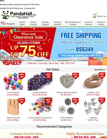 Year-end Clearance Sale & 30,000+ Items Up To 75% off + Free Shipping