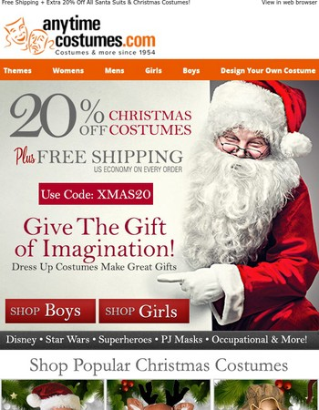 Free Shipping + Extra 20% Off All Santa Suits & Christmas Costumes!