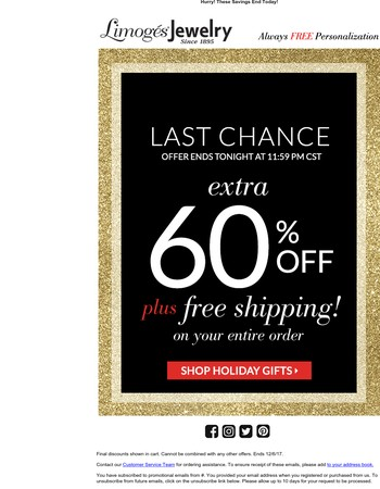 FINAL HOURS: Don't Miss 60% Off + Free Shipping