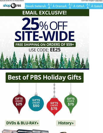 EMAIL EXCLUSIVE – 25% Off Everything!