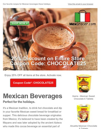 Mexican Hot Chocolate (Champurrado) + 25% OFF Coupon