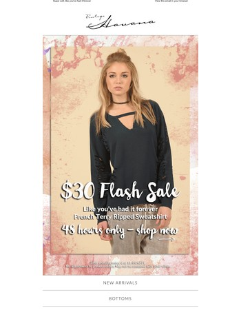 Hurry, Last Chance $30 French Terry Ripped Sweatshirt