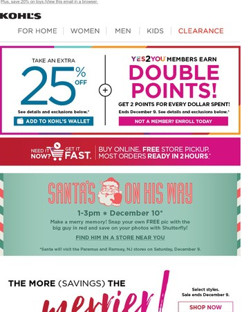 Starts now: Save 25% + Earn 2x points!