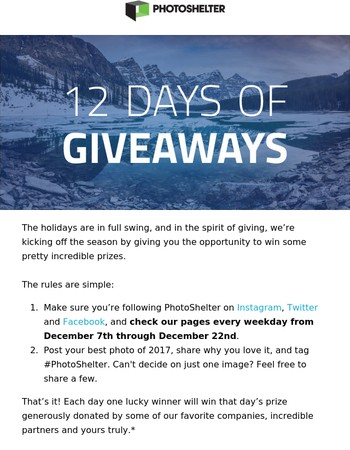 12 Days of Giveaways begins today!