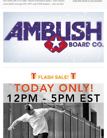 FLASH SALE! Right now until 5 PM Eastern. Get 25% OFF. Act fast!