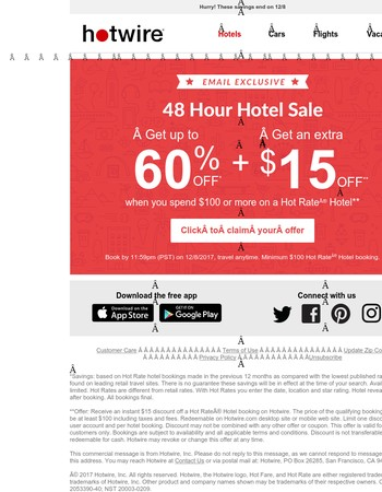 48 hour sale! Save an extra $15 on a hotel