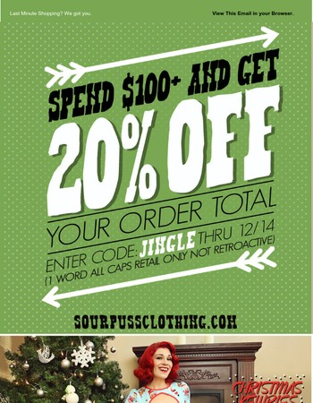 Spend $100+ and Get 20% Off Your Order at Sourpuss!