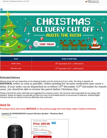 eGlobaL Christmas Delivery Cut Off