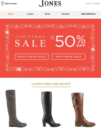 Snow joke... up to 50% off boots.