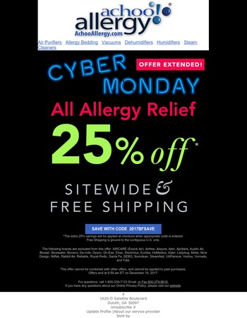 Extended Cyber Monday Savings • 25% + FREE SHIPPING*