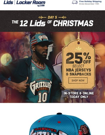 Day 5 of 12 Lids: 25% off select NBA jerseys and snapbacks, today only!