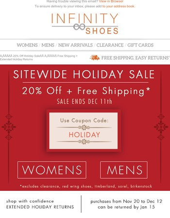 20% Off Holiday SaleFree Shipping + Extended Holiday Returns
