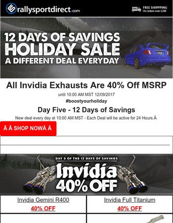 Invidia Exhausts Are 40% Off! 24 Hours Only!