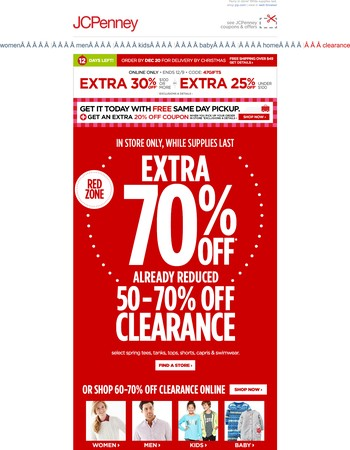 EXTRA 70% off on top of 50-70% off clearance items