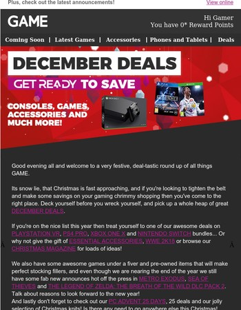 This week at GAME: December Deals - Get Ready to Save!