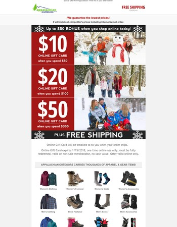 Up to $50 BONUS when you shop today!
