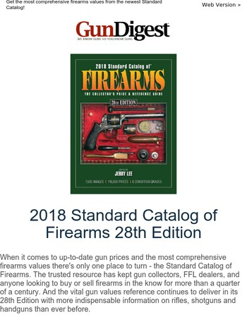 New: 2018 Standard Catalog of Firearms 28th Edition