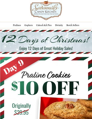 Save $10 on our Praline Cookies - a baker's dozen!