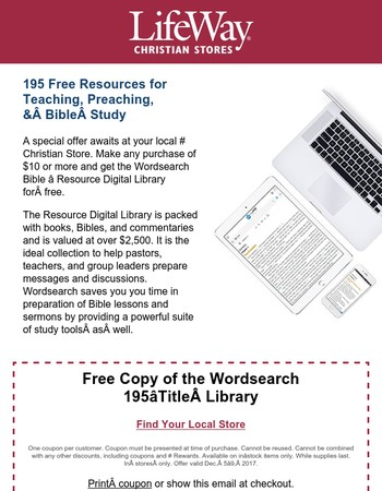 Claim your HUGE resource library from Wordsearch Bible and LifeWay