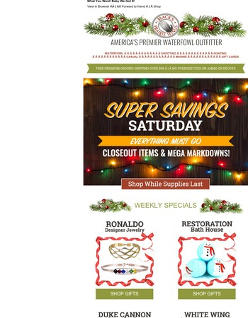 Super Savings Saturday Holiday Bargains