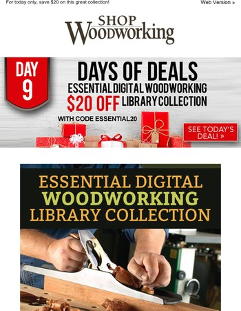 Day 9: Take $20 off the Essential Digital Woodworking Library Collection