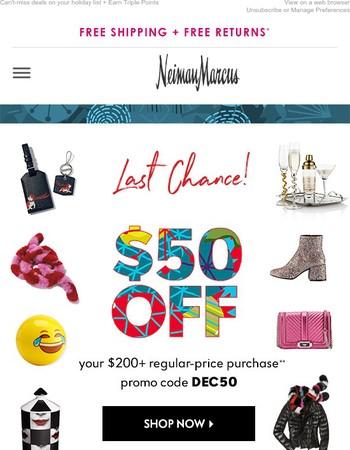Final hours: $50 off! Plus, 20% off Sale