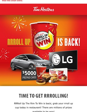 Time to celebrate! RRRoll Up the Rim to Win is back!