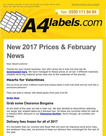 February News & 2017 Price List
