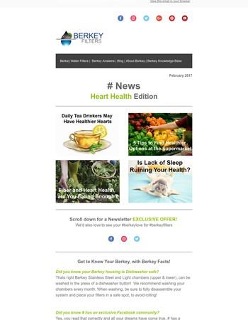 Berkey Filters Newsletter - Heart Heath Edition