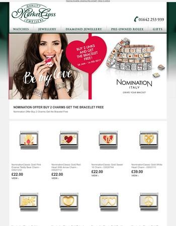 Nomination Offer Buy 2 Charms Get the Bracelet Free