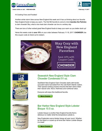 New England Foods to Keep You Warm!