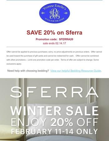 Sferra Winter Sale ... Save 20% now!